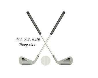 Golf Club Embroidery Design - 4x4, 5x7, 6x10 - 4 sizes Golf Embroidery - instant download