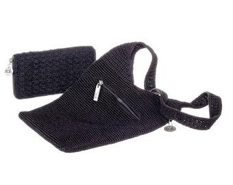 """Black Woven """"Sak"""" Shoulder Bag  and Matching Wallet"""