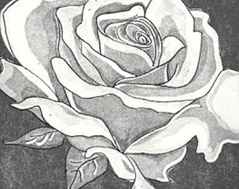Ancient Rose-Classic Etching- Limited Edition- 7 x 9