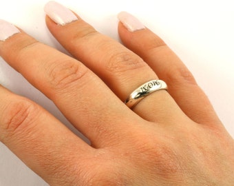 Vintage Mom Engraved Band Ring 925 Sterling Silver RG 1383-E