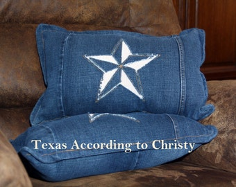 Pair Recycled Denim Jeans Pillows, Star