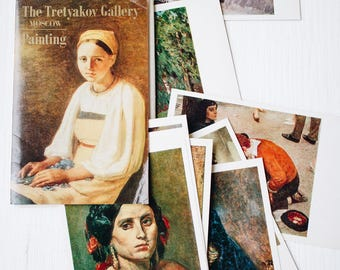 Vintage art postcards set of 11 in original cover/ Tretyakov Gallery painting collection/ Artist print postcard/ Russian Soviet USSR/ 80s