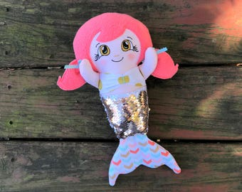 Gold Sequin Mermaid - Sequins - Pigtails - Handmade Mermaid Doll - Mermaid Rag Doll - Mermaid Toy - Gift for Girls - Christmas Gift