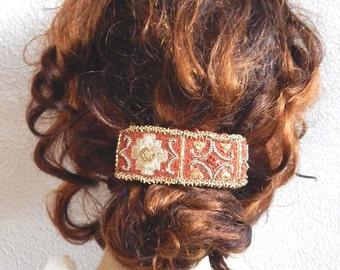 Rust hair barrette,embroidered barrette, beaded barrette, sequinned barrette,fabric barrette, hair accessory, fashion accessory