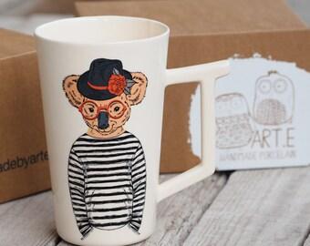 Bear mug, Porcelain Coffee Mug, Koala Mug, Large Tea Cup, Birthday Gift, Summer Pottery, Animal lover Present, Librarian Gift Idea