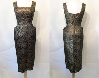 """Dazzling 1950's """"Peggy Hunt"""" Designer Brocade Cocktail Party Hourglass Dress w/ Sequin Trim Rockabilly VLV Pinup Girl Vixen Curvy Size-Small"""