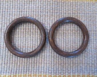3 inch rings,set of 2,dark wood-look molded plastic,Macrame,weaving,fashion,crafts