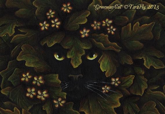 Greenman Cat Fine Art Print