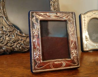 Small Vintage Sterling Silver Embossed Picture Frame