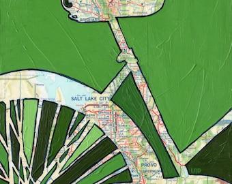 Salt Lake City - small print -  bike art featuring Salt Lake City, Provo, Brigham, Utah - bicycle print - bike print - bicycle gift