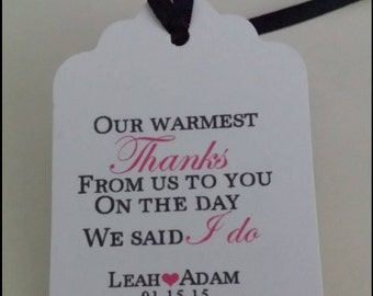 Wedding Favor Tags Warmest Thanks Personalized Favor Tags Gift Hang Tag Heart