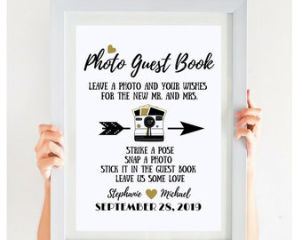 On SALE TODAY, Photo Guest Book Sign, Black And Gold, Printable Wedding Sign, Photo Booth Sign, Alternative Wedding Guest Book Sign
