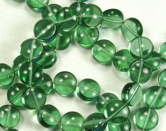 Prairie Green Puffy Coin Czech Glass Beads 10mm - 15