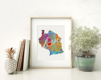 Tanzania Love - Colorful Watercolor Style Wall Art Print & Home Country Map Artwork - Adoption, Moving, Engagement, Wedding Gift and More