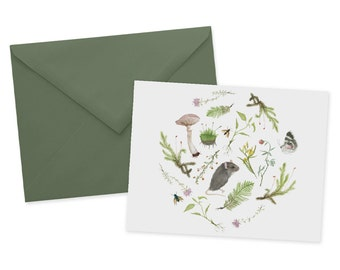 Botanical Mouse Card 1pc Blank Watercolor Note Card