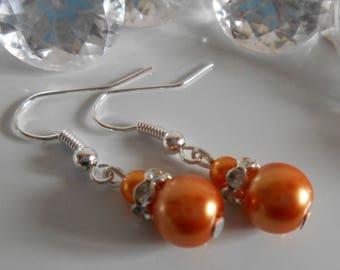 Wedding earrings rhinestone and Pearl Orange bronze