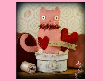 Valentine Kitty cat make do Pattern PDF - wool felt pincusion pin keep cushion prim doll red beads vintage like heart primitive