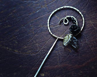 Black Magic Rose - Orifice Hook - Sterling Silver/Black/Copper/Brass - Spinning Tool - Fiber - Yarn - Wheel Tools - Gifts for Spinners