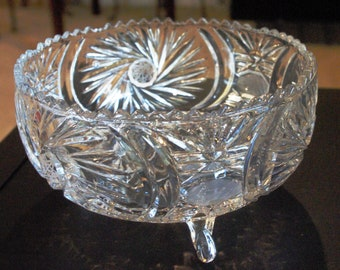 "Vintage Crystal Bowl Cut with Star and Pinwheel Pattern, 3 Footed, 8"" Wide, Very Ornate Detail Everywhere on the Bowl, Sawtooth Edge, 1980s"