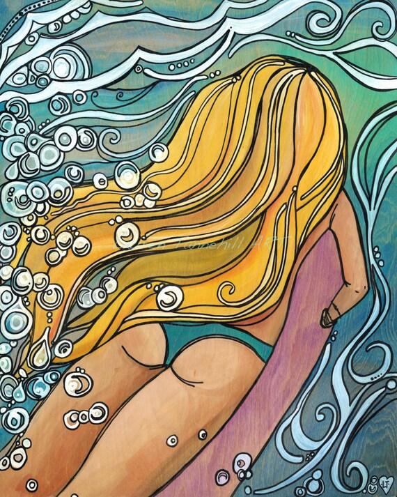 8x10 Giclee Paper Print Surfer Girl Duckdiving into Swirling Ocean by Lauren Tannehill ART