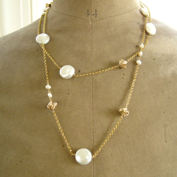Coin Pearl Wrap Necklace Coin Pearl and Gold Pearl Station Necklace Long Necklace Freshwater Pearl Necklace-Wrap Necklace