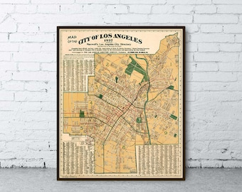 Map of Los Angeles  - Large wall map - Los Angeles  city map restored