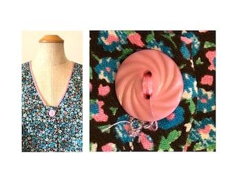 Vintage 60s Duster Dress Top 2X Floral Print NOS