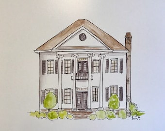 Custom home illustration, Moving gift, House warming, Wedding gift, Archival Quality 8x10