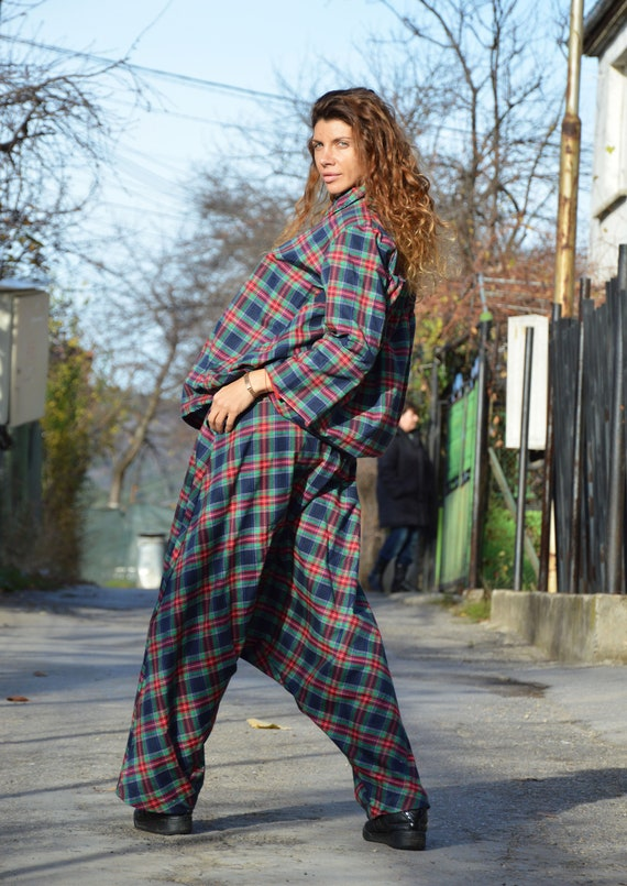 Pants Suit Trendy Maxi Set by with Shepherd's Plaid SSDfashion Handmade Clothing Collar Bottom Shirt Low Modern Women CwfFC4q