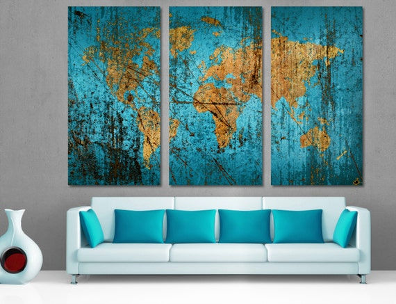 Munsell blue world map canvas print 3 panel split triptych like this item gumiabroncs Choice Image