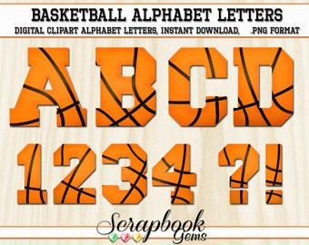 Sports Basketball Letters & Numbers Clipart, 40 High Quality PNG files, Instant Download Digital Clip Art