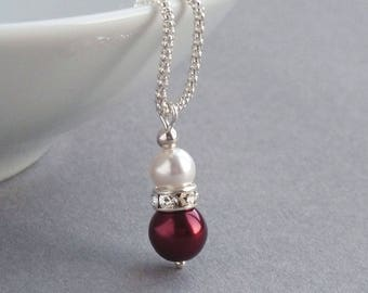 Burgundy Pearl Drop Necklace - Deep Red Bridesmaid Jewellery - Claret Bridal Party Gifts - Dark Red and White Pearl Wedding Accessories