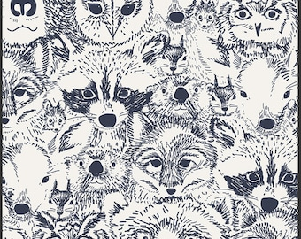 Woodland Fabric - Indian Summer Menagerie Onyx - IS-60011 - Sarah Watson for Art Gallery Fabrics - Owl - Bear - Fox - Raccoon