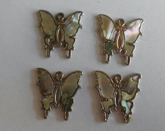 Butterflies- Moths- Abalone Inlay-Vintage Charms-1970's- - Set of 4
