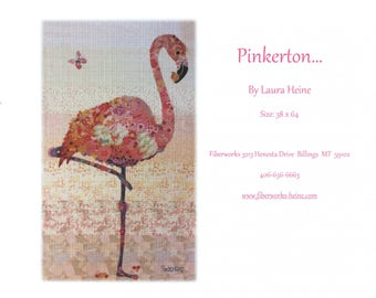 Flamingo Collage - Laura Heine Pattern - Applique Quilt - Pinkerton Flamingo - DIY Pattern Or Kit Option - full size reusable template