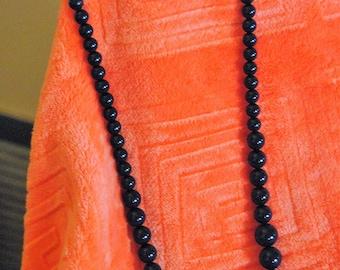Beaded 11 inch Drop Necklace Dark BLue