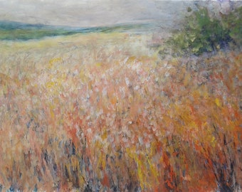 MERRY MEADOW, 94X60CM multicolored blooming field landscape painting
