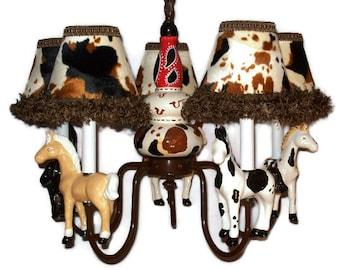 Horse chandelier etsy western horse chandelier cowboy room lighting aloadofball Choice Image