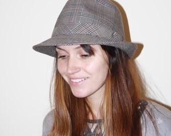 Vintage Fedora Hat Checked Pattern