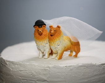 Collie Cake Topper - Small Wedding Cake Topper - Dog Cake Topper - Animal Cake Topper - Bride and Groom - Country Wedding - Custom