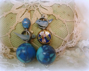 2 sets sterling silver bead frame with vintage carved mother of pearl bird bead and coordinating vintage beads cloisonne + marbled