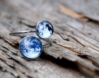 Lune et terre anneau, anneau en acier chirurgical, anneau de planète, bague superposable, pleine lune bague, bague de la terre, système solaire, bague en espace galaxie, cadeau pour elle
