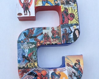 READY TO SHIP Spiderman Paper Mache Collage Comic Book Letter S 8 1/2 inches tall