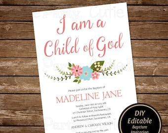 Peach floral printable baptism invitation template girl baptism invitation printable diy baptism invitation template christening invitation template girl baptism invitation solutioingenieria Image collections