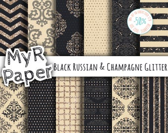 "Glitter digital paper: ""Black Russian & Champagne Glitter"" dots, damask, chevron, squares, stripes. Digital scrapbooking"