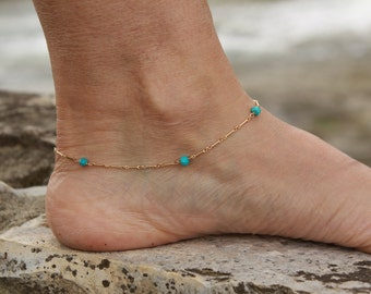 Genuine Turquoise Anklet, Gold Filled Anklet, Delicate Chain Anklet, Turquoise Ankle Bracelet, Natural Turquoise, Minimalist, Gold