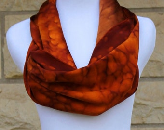 """Hand painted Charmeuse silk scarf 14""""x72"""". Brown Sienna salt abstract  Charmeuse. Made to order"""