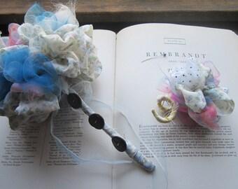 "6"" Fabric Wedding Bouquet * Vintage Fabric Bouquet * Vintage Fabric Bridal pom * Handmade Celebration Bouquets"