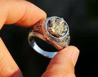 Elephant Buddha Sterling Silver Mens Ring, Tibetan Buddhist Prayers Ring, Meditation Ring Chinese, Nepal, Yin Yang, Yoga jewelry, Man Ring