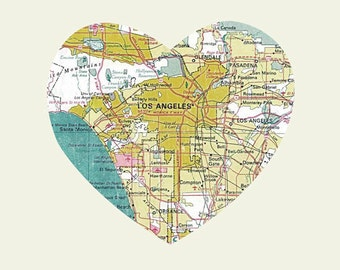 Los Angeles Art City Heart Map -  8x10 Art Print
